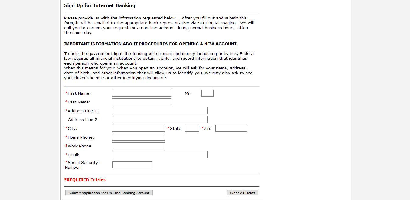 Reynolds State Bank Online Banking Form