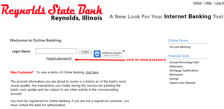Reynolds State Bank Online Banking Password Reset