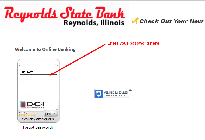 Reynolds State Bank Password Reset