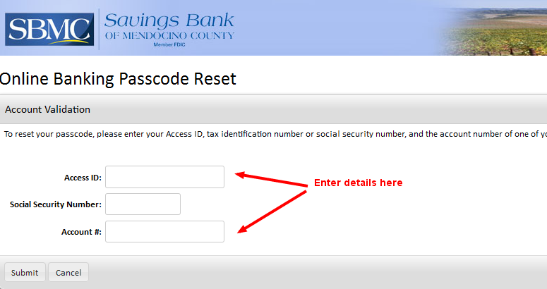 Savings Bank of Mendocino Reset Password-2