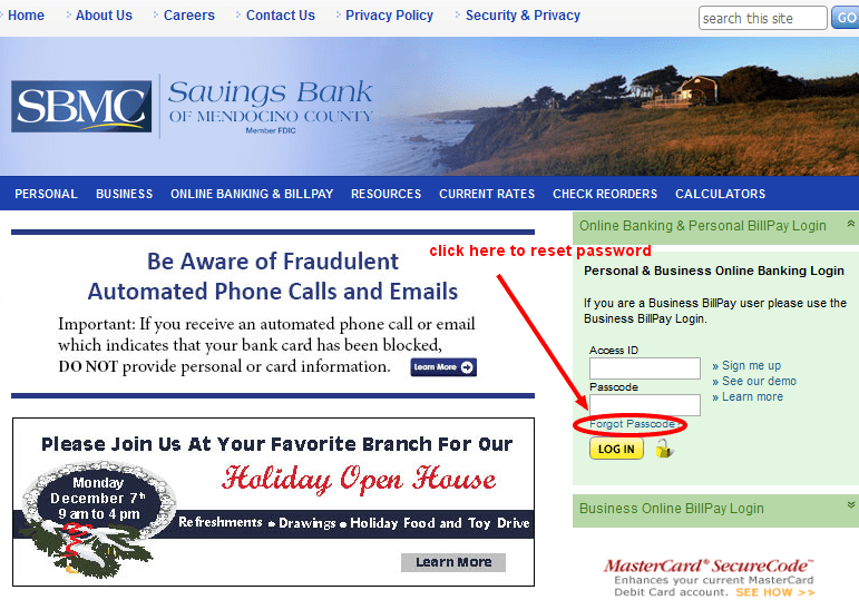 Savings Bank of Mendocino Reset Password