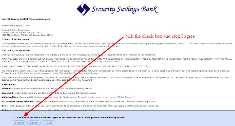 Security Savings Bank Internet Banking Agreement