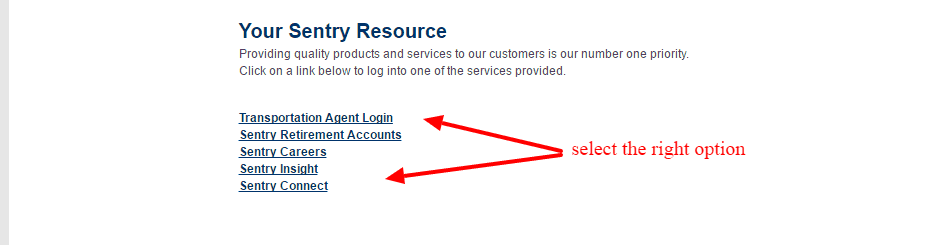 Sentry Insurance login-options