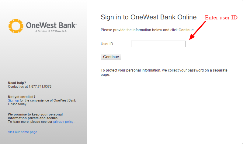 Sign in to OneWest Bank Online.