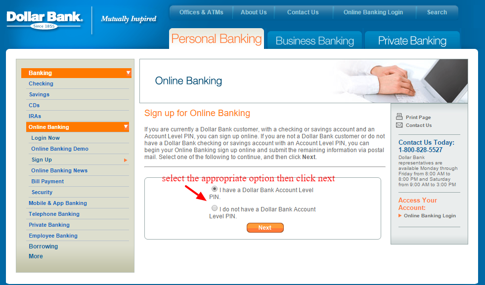 Sign up for Dollar Bank Online Banking
