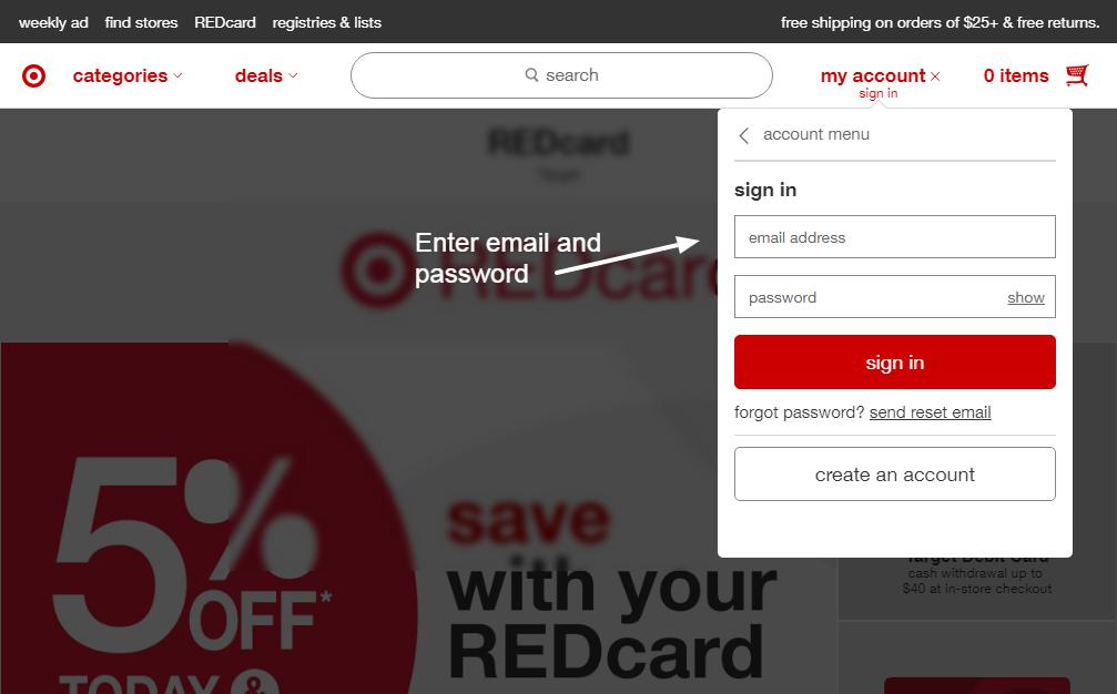 Ziel rote Kreditkarte