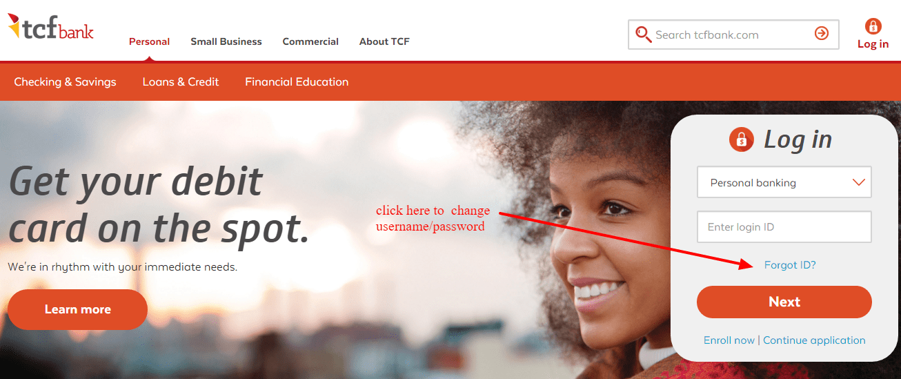 TCF Bank Change Password