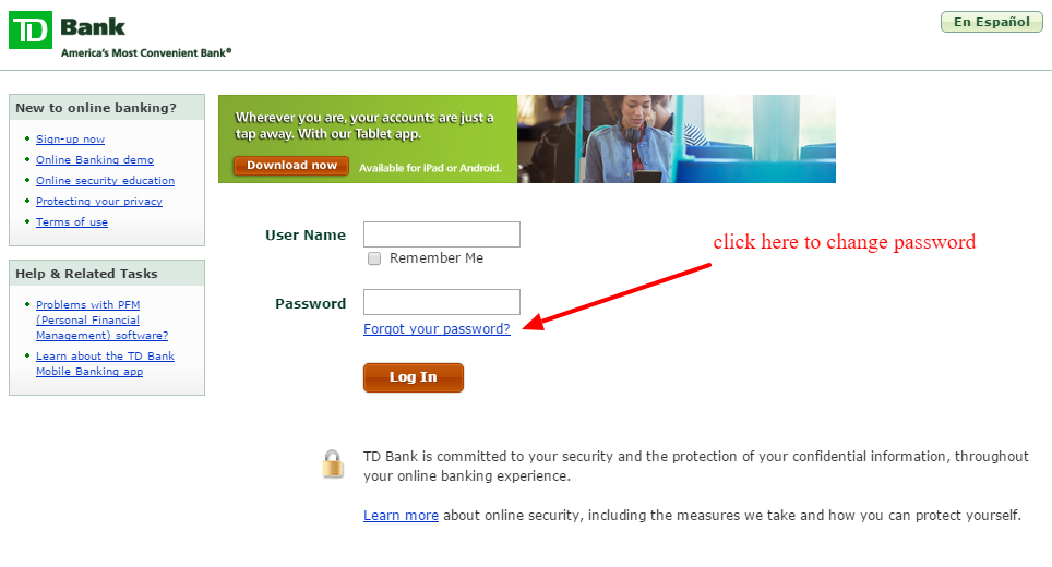 TD Bank Online Banking Password Reset Link