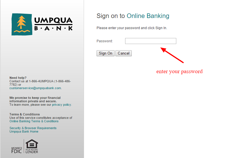 Umpqua Bank Online Banking Login field