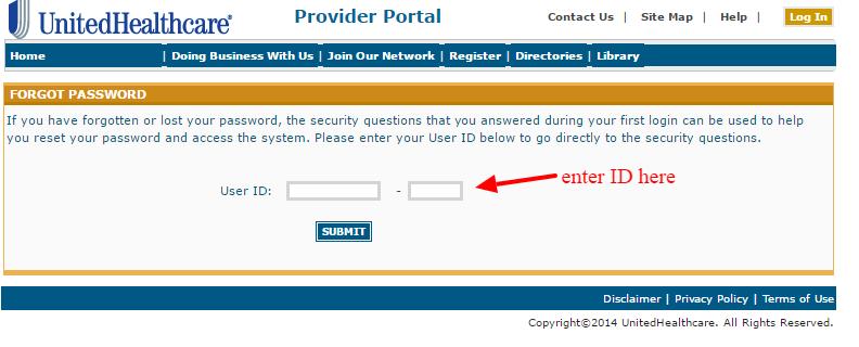 UnitedHealthcare password-reset