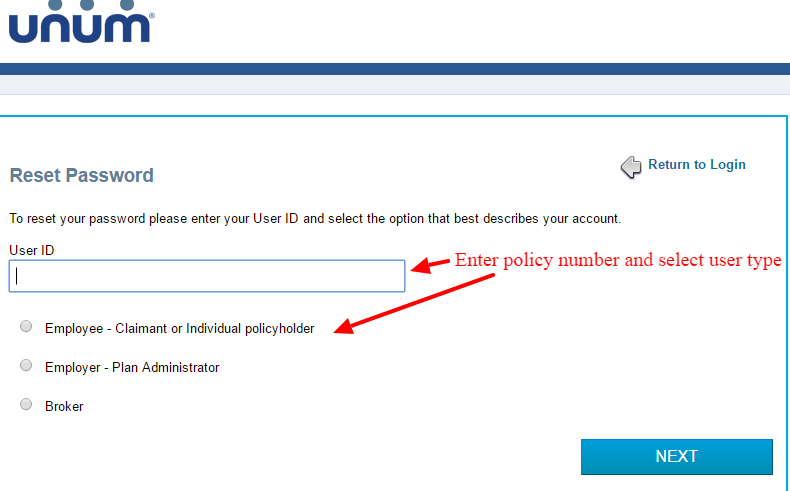 Unum reset password page