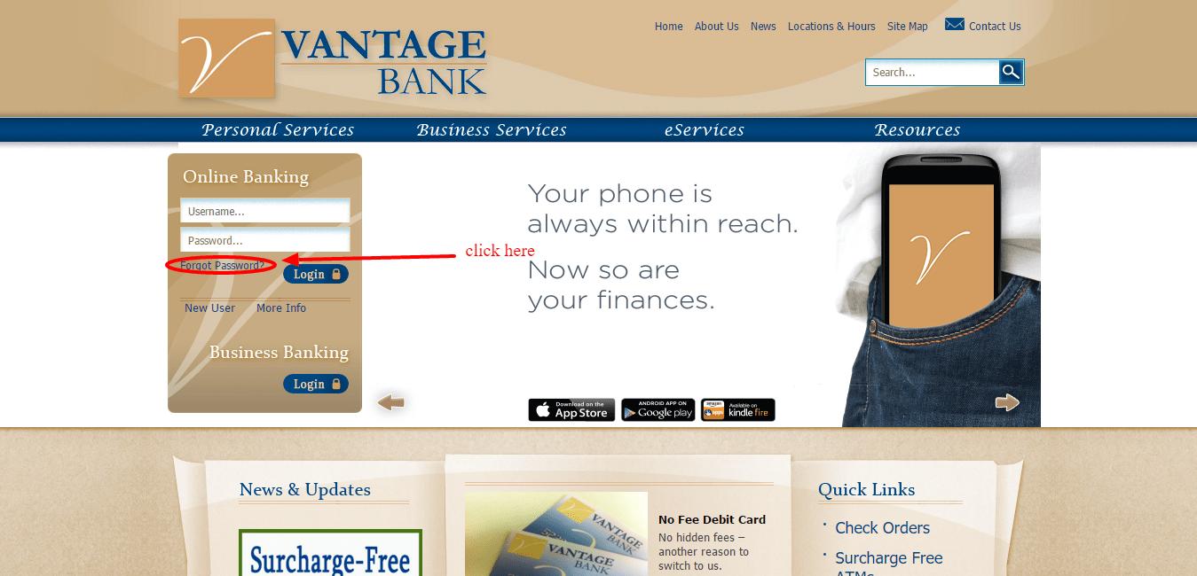 Vantage Bank of Alabama Forgot password
