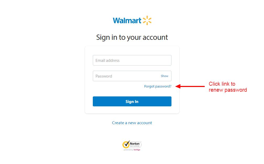 Walmart password