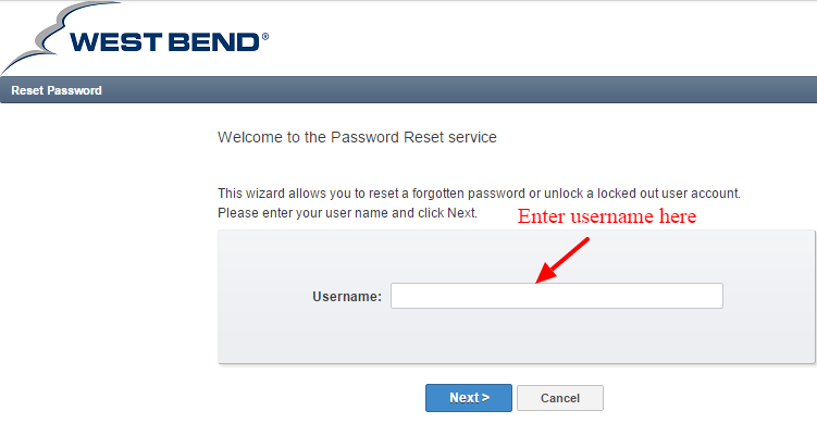 Westbend Password Reset Service