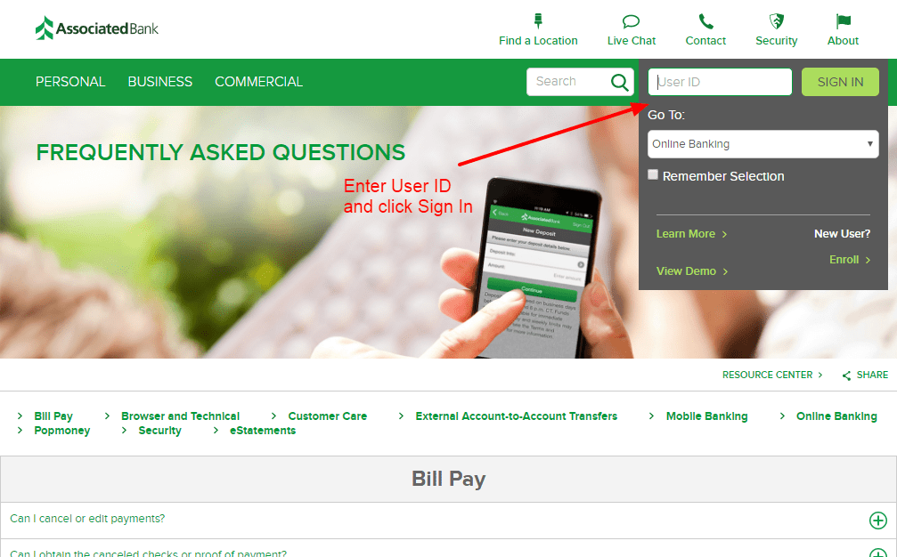 associated bank login