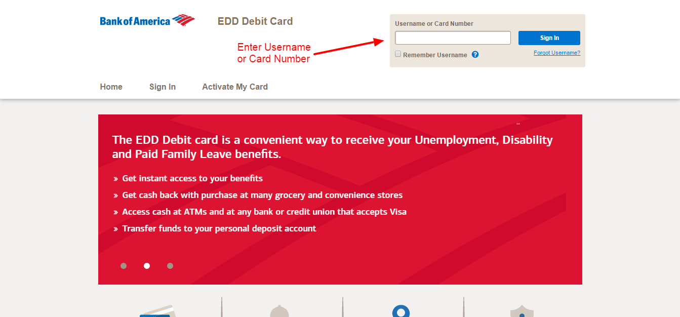Bank Of America Edd Debit Card Online Login Cc Bank