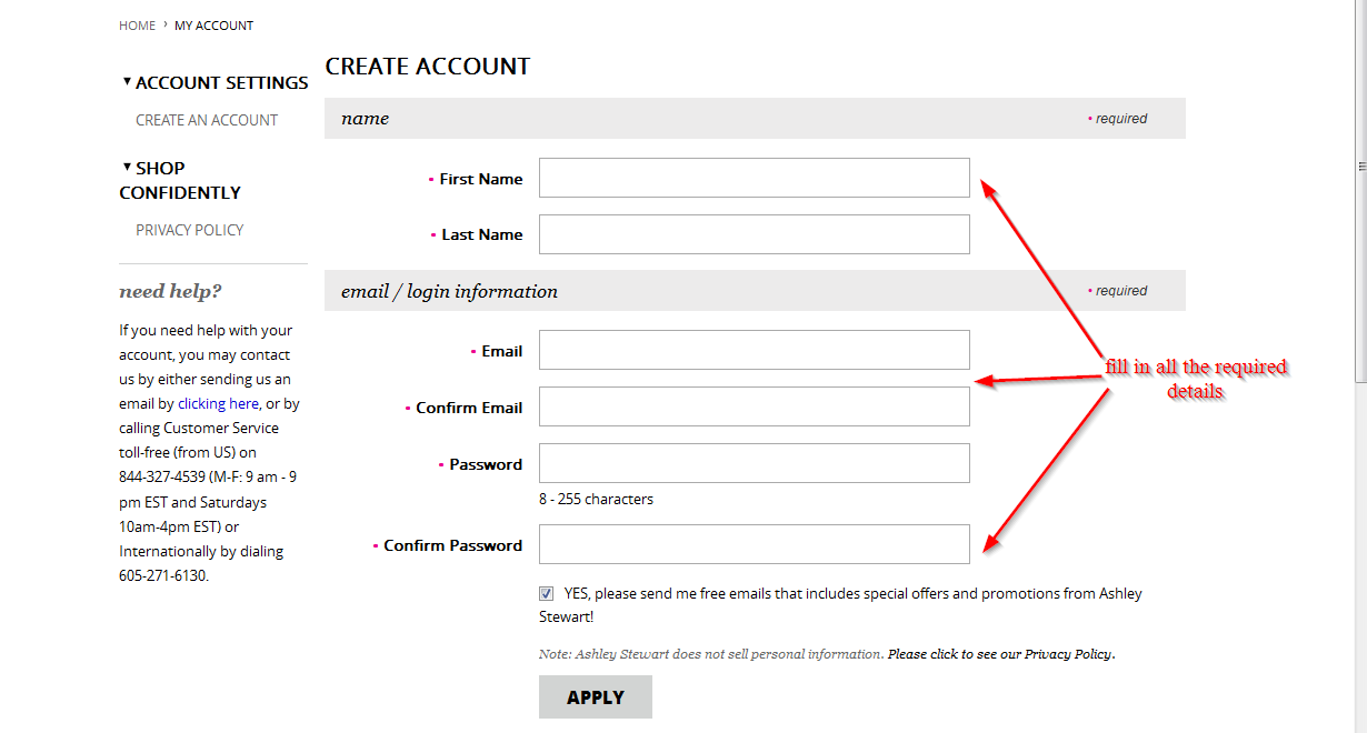 ashley stewart credit card manage your account