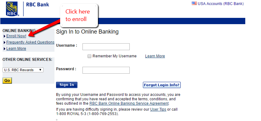 Step 3 Review The Requirement For Online Banking Enrollment In Rbc Bank Then Click Continue