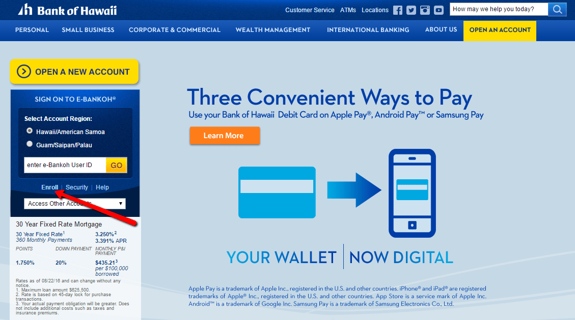 encompasses bank of hawaii online banking login The