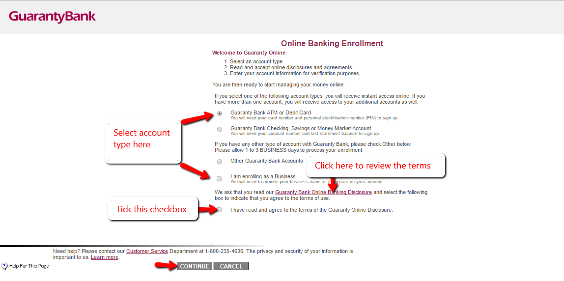 step 3 key in the needed information in the online banking enrollment form shown below