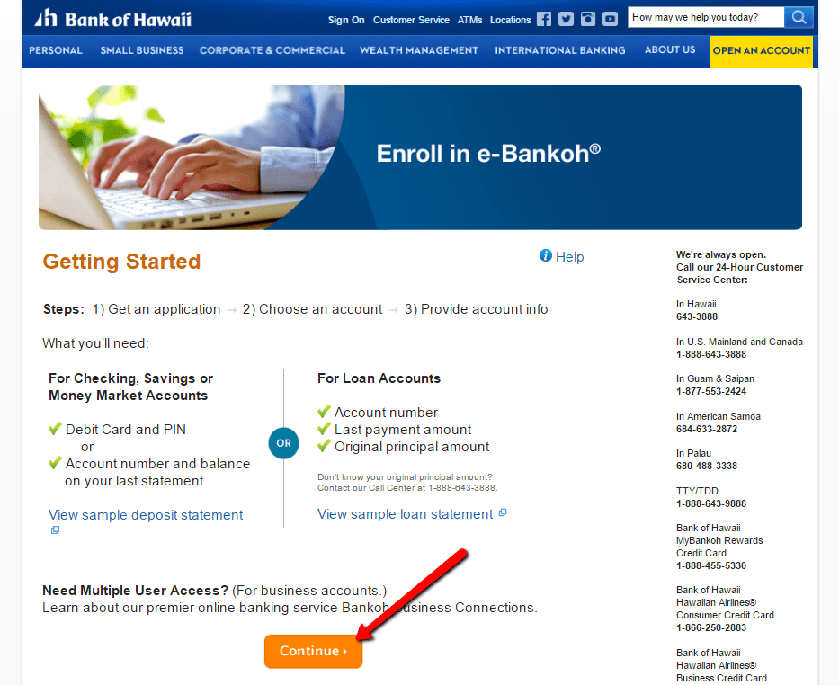 SIM-free bank of hawaii online banking login