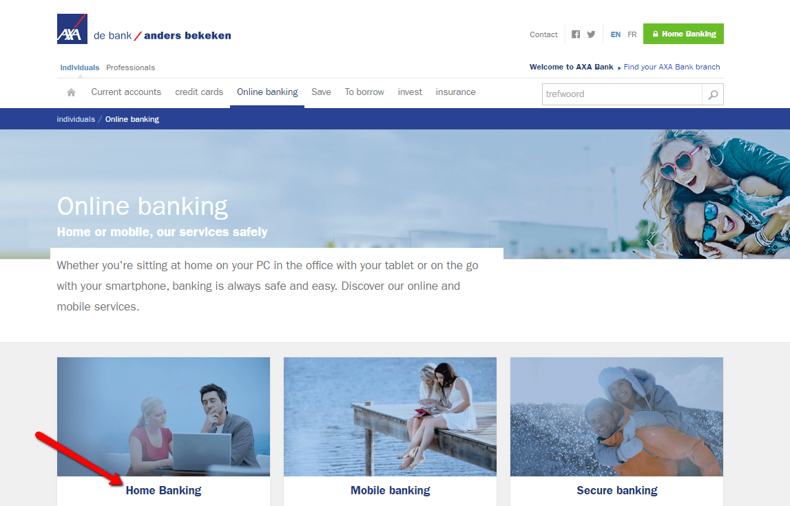 Clock to home banking option