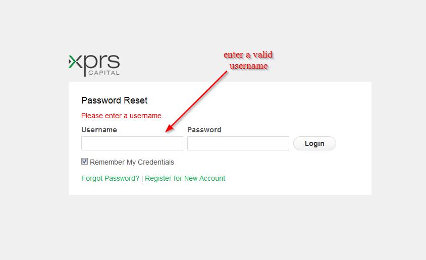enter a valid username