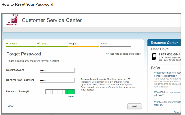 hartfort new password