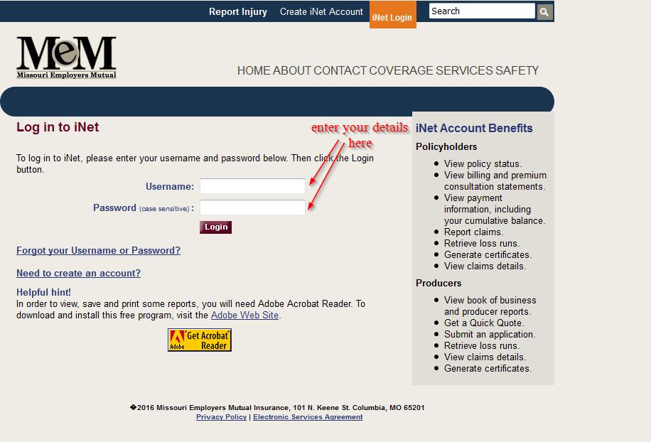 iNet enter your login details