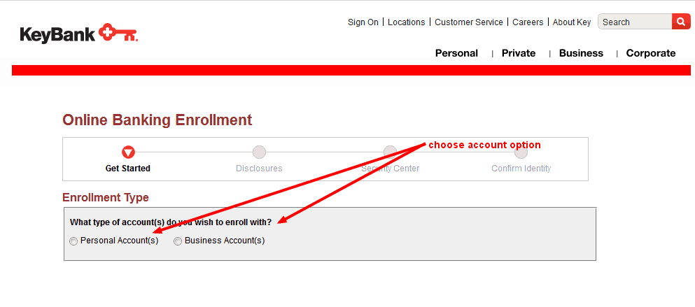 key bank online banking account option