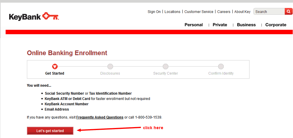 keybank online banking enrollment button
