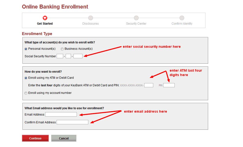 keybank online banking enrollment form