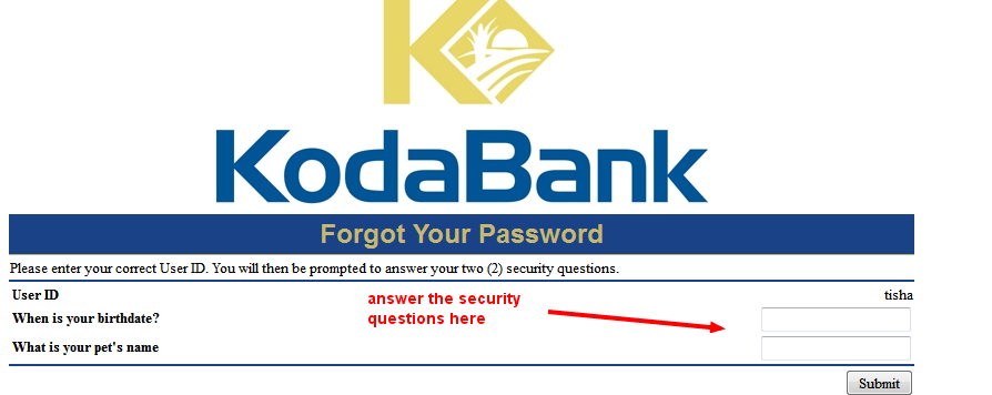 koda bank security questions