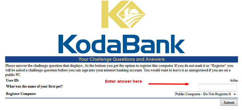 kodabank securit question