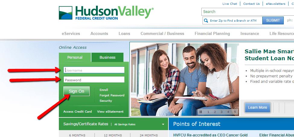Hudson valley federal credit union online banking login for Hudson log