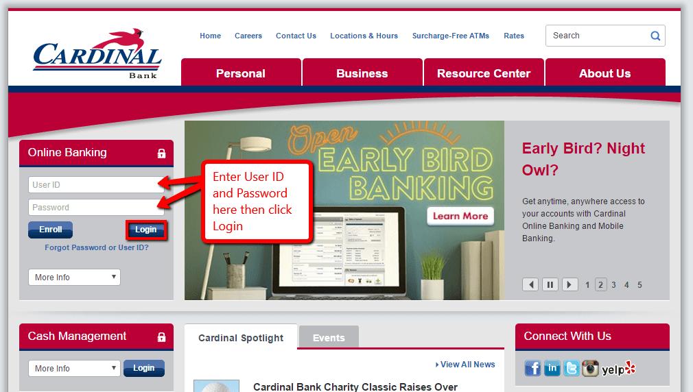 Cardinal Bank Online Banking Login