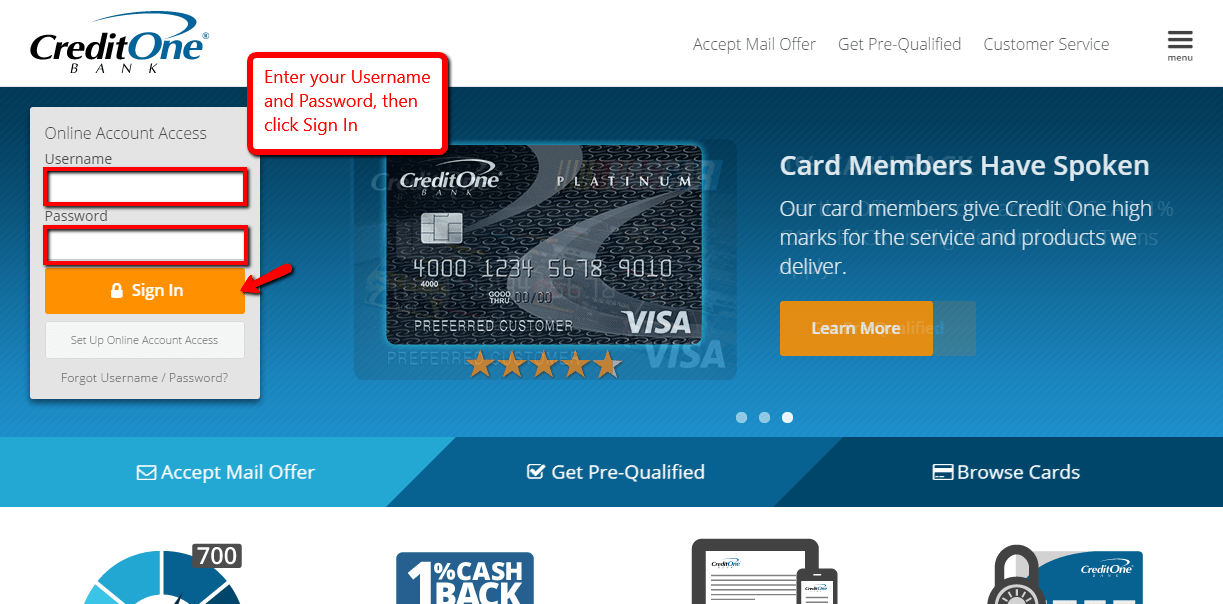 credit one bank online pay