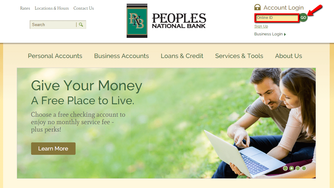 login bank peoples banking national highlighted within section field account step then go