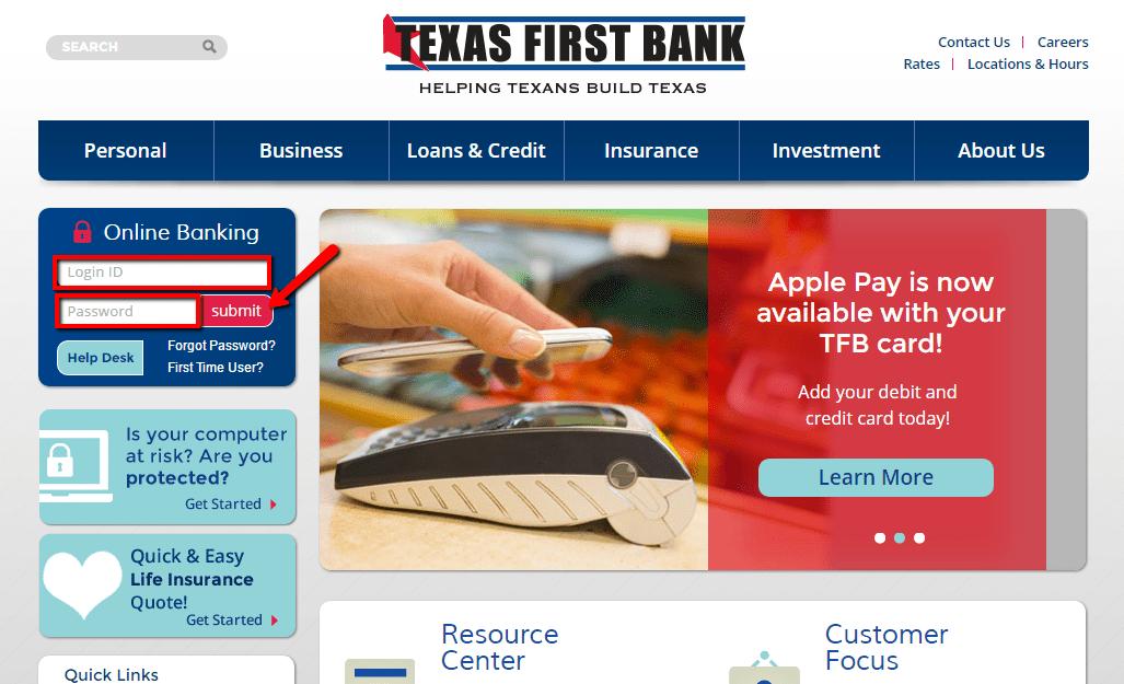 Texas First Bank Online Banking Login