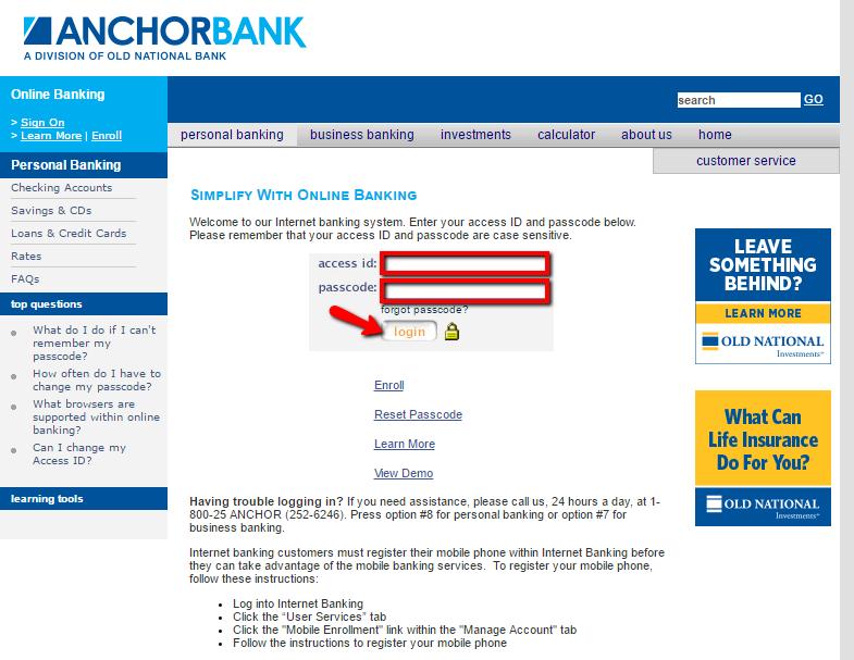 Anchor Bank Online Banking Login