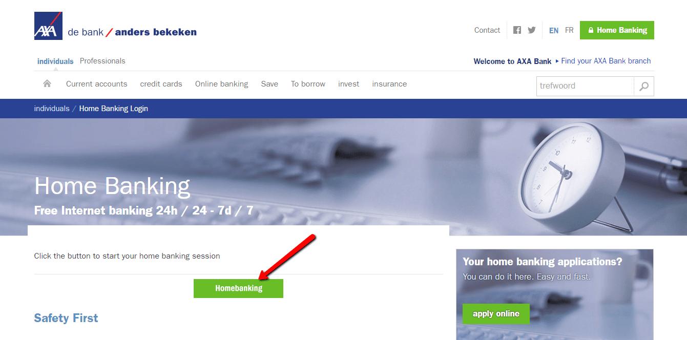 "then, click ""homebanking"""