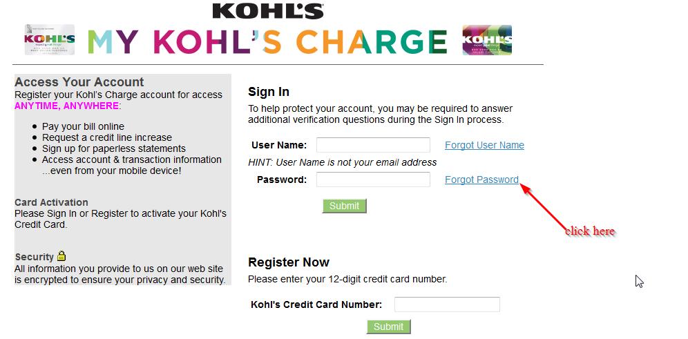 login da conta Kohls