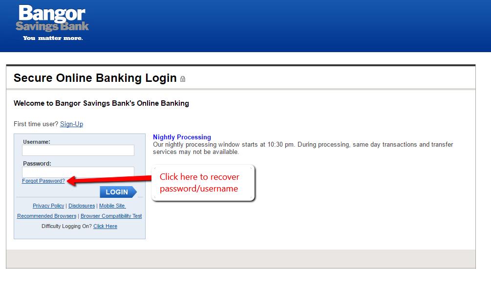 Bangor Savings Bank Online Banking Login