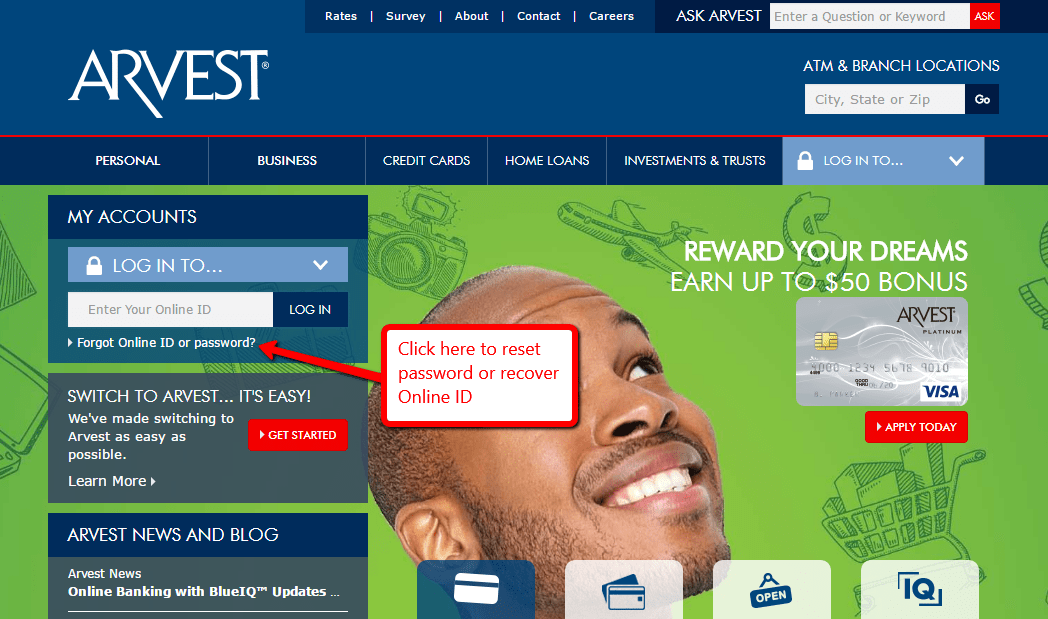 Click to Forgot online ID or Password option.