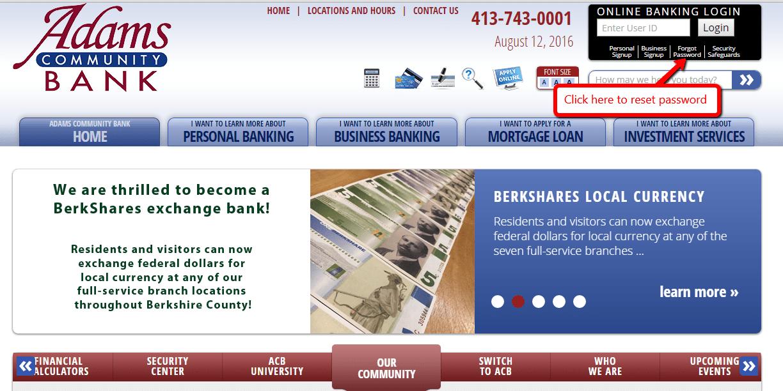 Adams Community Bank Online Banking Forgot the password