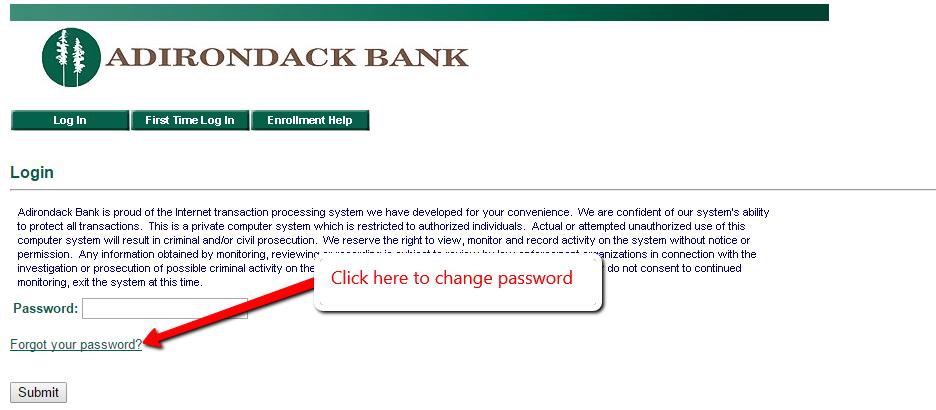 Adirondack Bank Mobile Banking forgot the password.