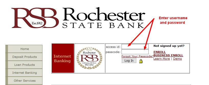 rochesterstatebank login