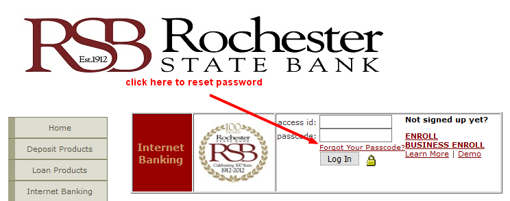 rochesterstatebank reset password
