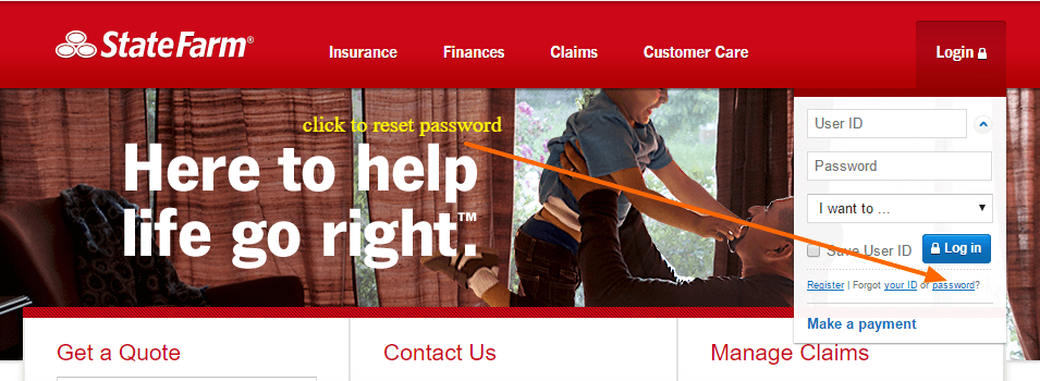 statefarm password reset