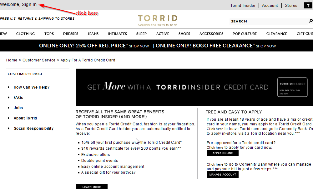 Torrid credit card login / Promo code ios